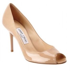 Jimmy Choo Evelyn Peep-Toe Pumps Nude size 39.5
